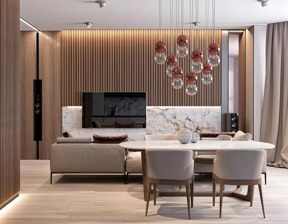 Thiết kế nội thất đẹp trang nhã bằng gỗ và đá cẩm thạch