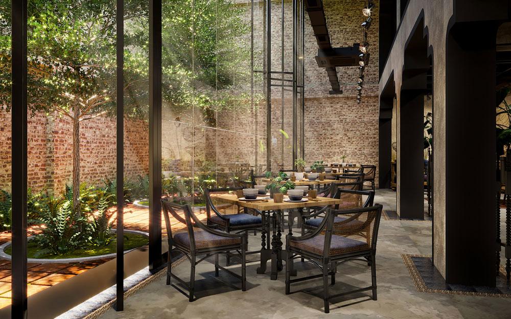 thiết kế nội thất nhà hàng ăn chay 3