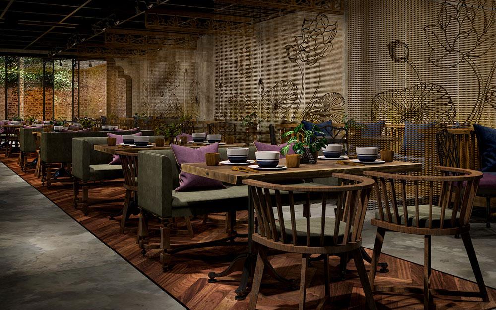 Thiết kế nội thất nhà hàng ăn chay đẹp yên bình
