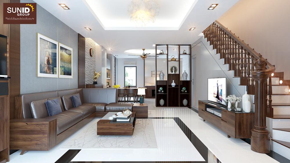 Thiết kế nội thất nhà phố 2 phòng ngủ đẹp hiện đại