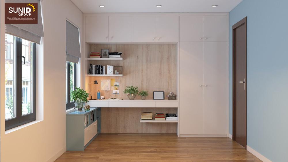 thiết kế nội thất nhà phố 2 phòng ngủ đẹp 11