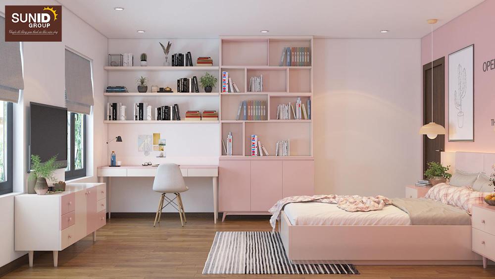 thiết kế nội thất nhà phố 2 phòng ngủ đẹp 14