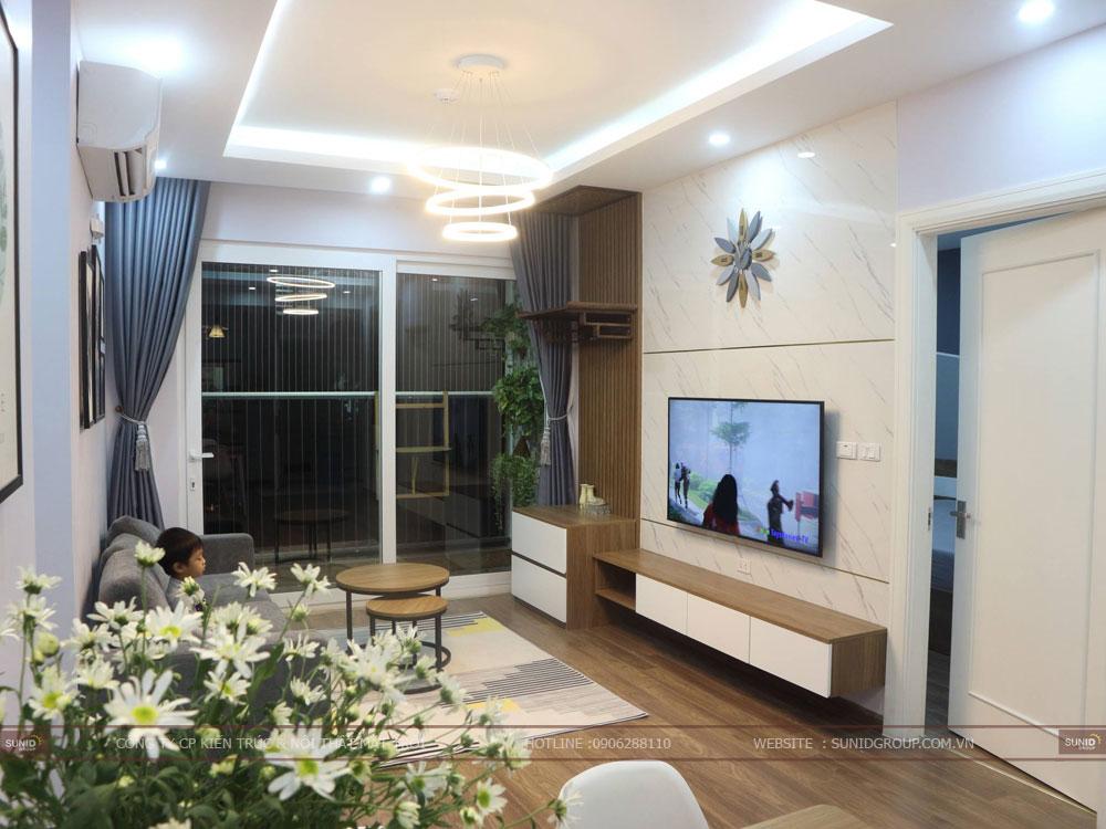 View 01 - Thiết kế nội thất không gian phòng khách  chung cư Riverside Garden 349 Vũ Tông Phan
