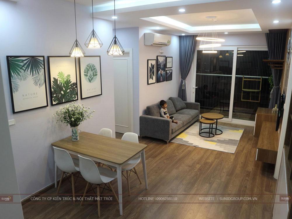 View 02 - Thiết kế nội thất không gian bếp ăn nhìn sang phòng khách