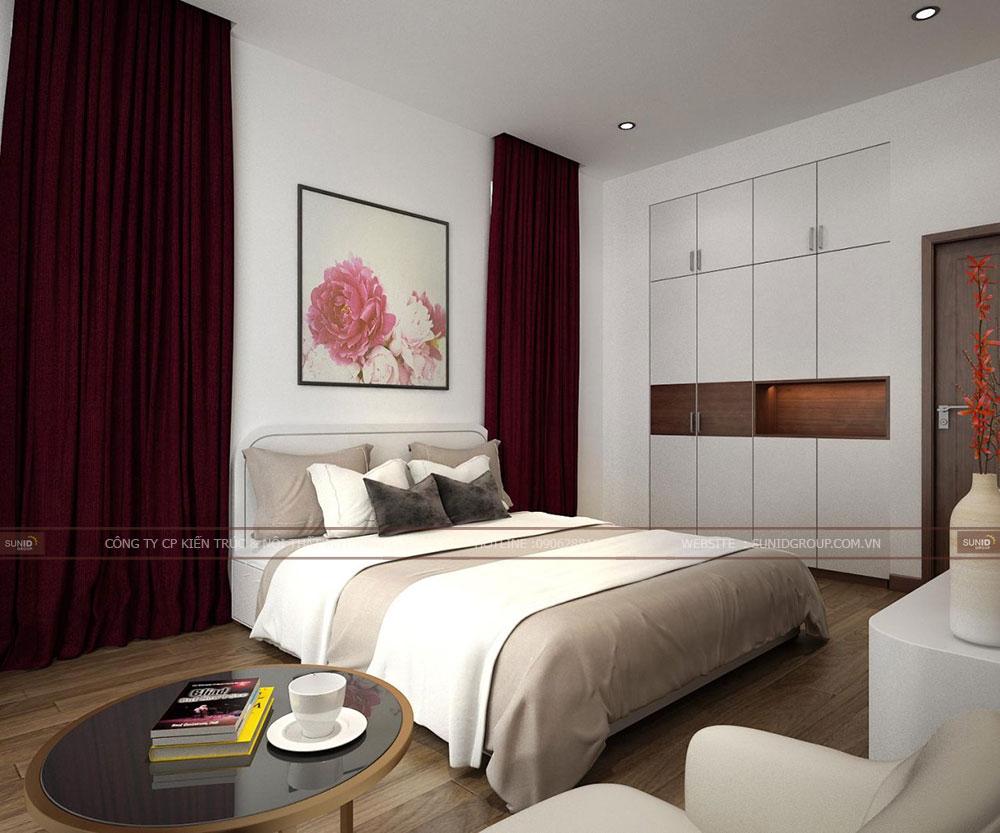Thiết kế phòng ngủ ông bà màu trắng kết hợp nâu xám