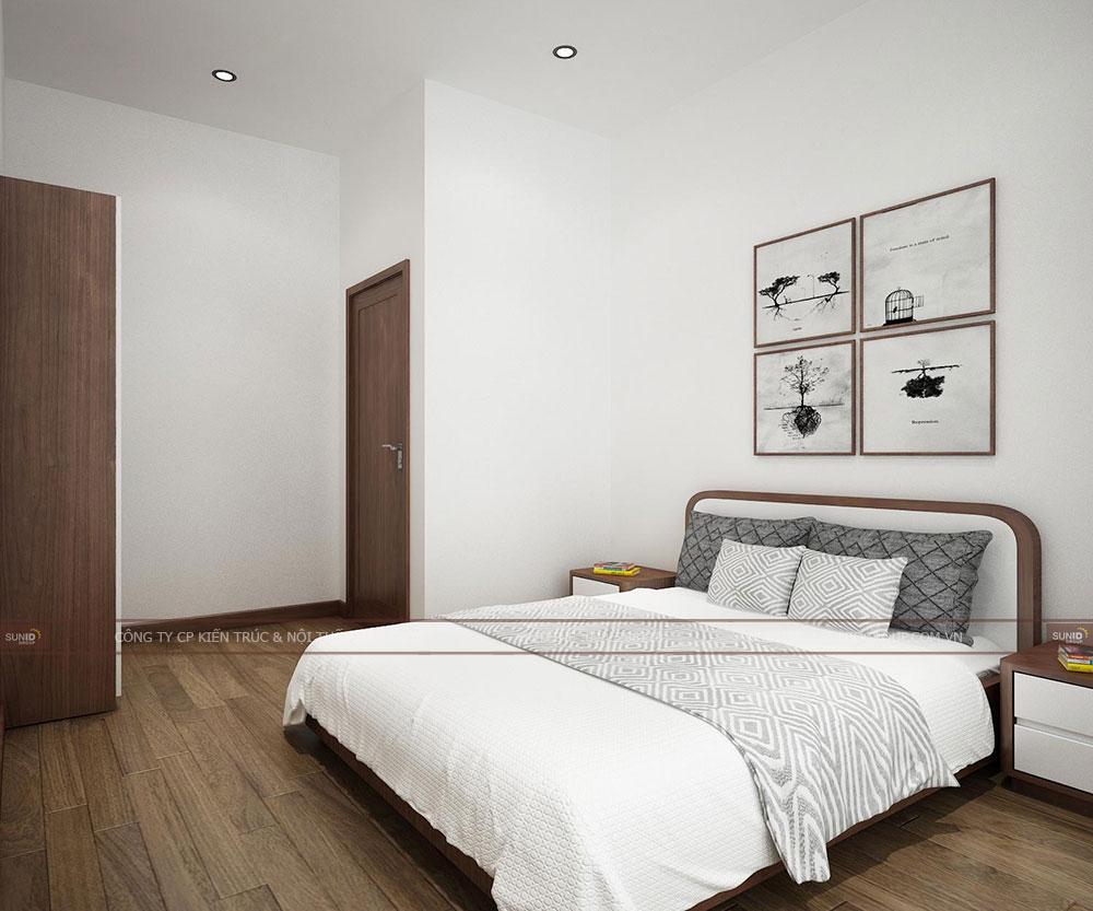 Không gian phòng ngủ cho khách thiết kế khá rộng với đầy đủ tiện nghi
