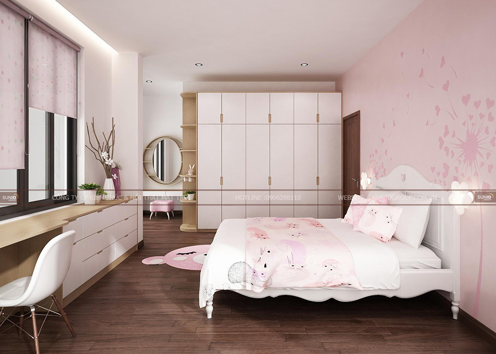 Thiết kế phòng ngủ bé gái với sắc hồng đầy nữ tính
