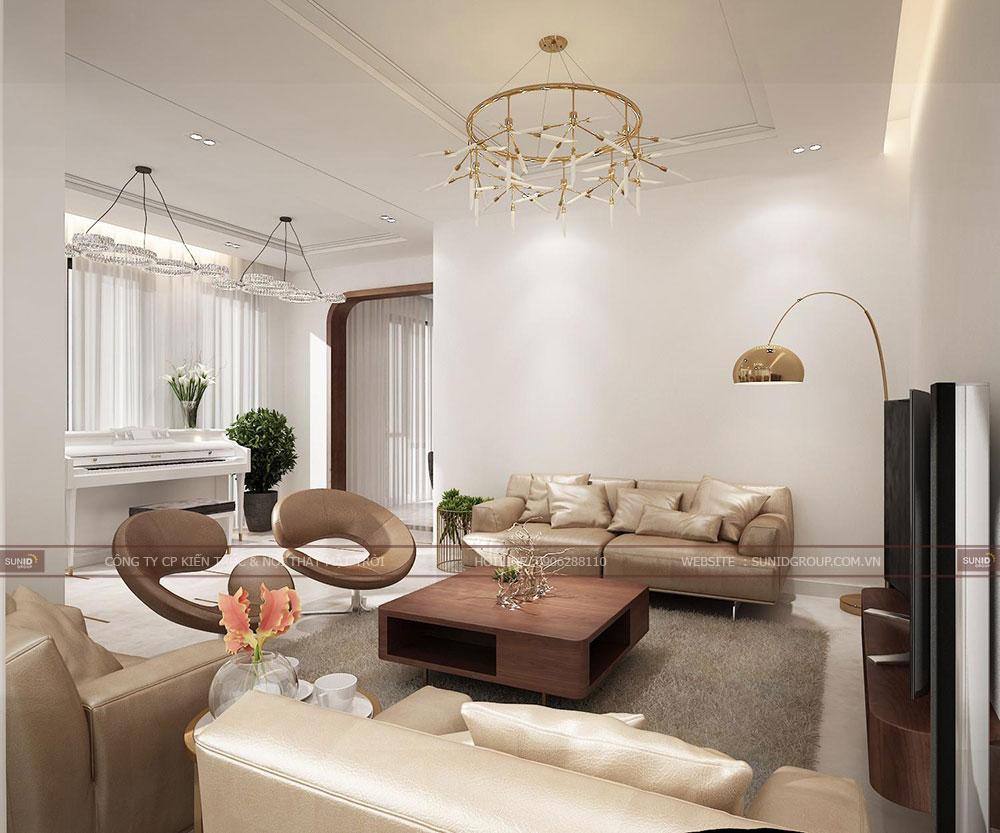Thiết kế nội thất phòng sinh hoạt chung với đầy đủ tiện nghi