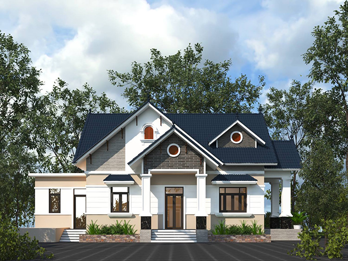 Mẫu biệt thự cấp 4 mái thái đẹp phong cách hiện đại