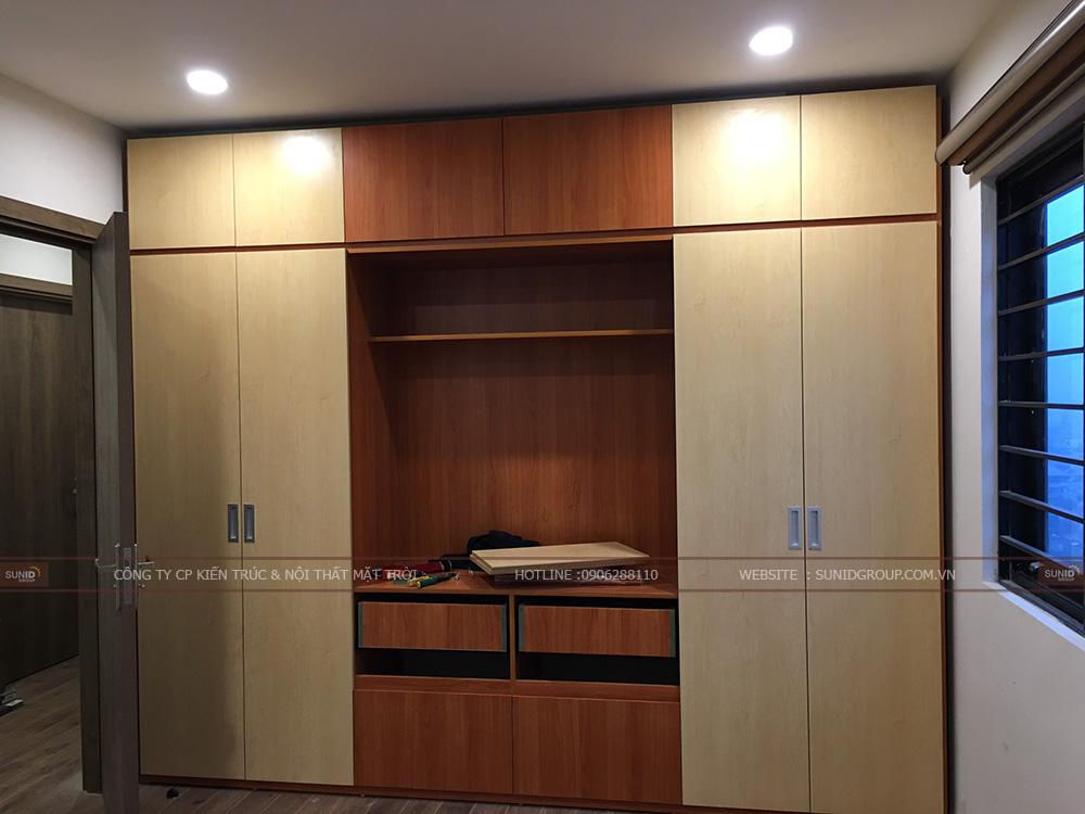 Tủ quần áo kết hợp tủ tivi phòng Master