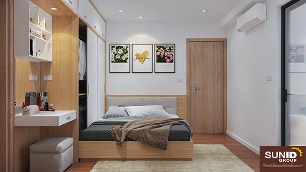 Phòng ngủ sử dụng màu trắng làm màu sắc chủ đạo giúp căn phòng trở nên rộng và thông thoáng hơn