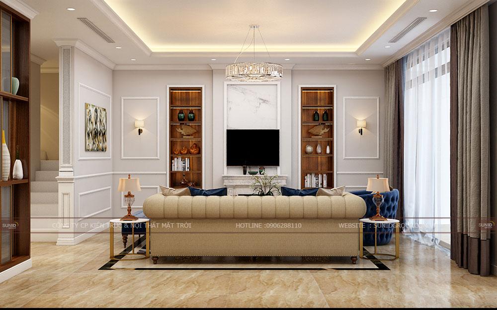 Thiết kế nội thất không gian phòng khách biệt thự Vinhomes Ocean Park Gia Lâm
