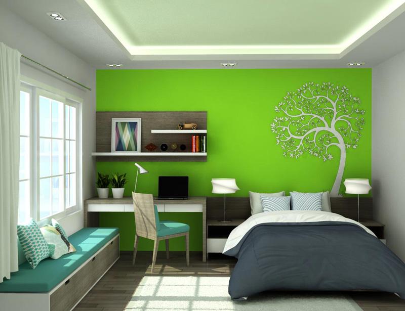 Thiết kế phòng ngủ màu xanh lá cây biểu tượng của sự sinh sôi, nảy nở, sức sống mãnh liệt