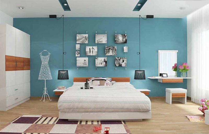 Thiết kế phòng ngủ màu xanh dương mang lại cảm giác yên bình, trí tuệ