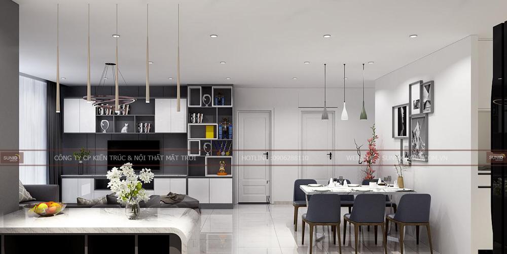 Không gian bếp chế biến căn hộ chung cư Lark 6 Vinhomes Central Park