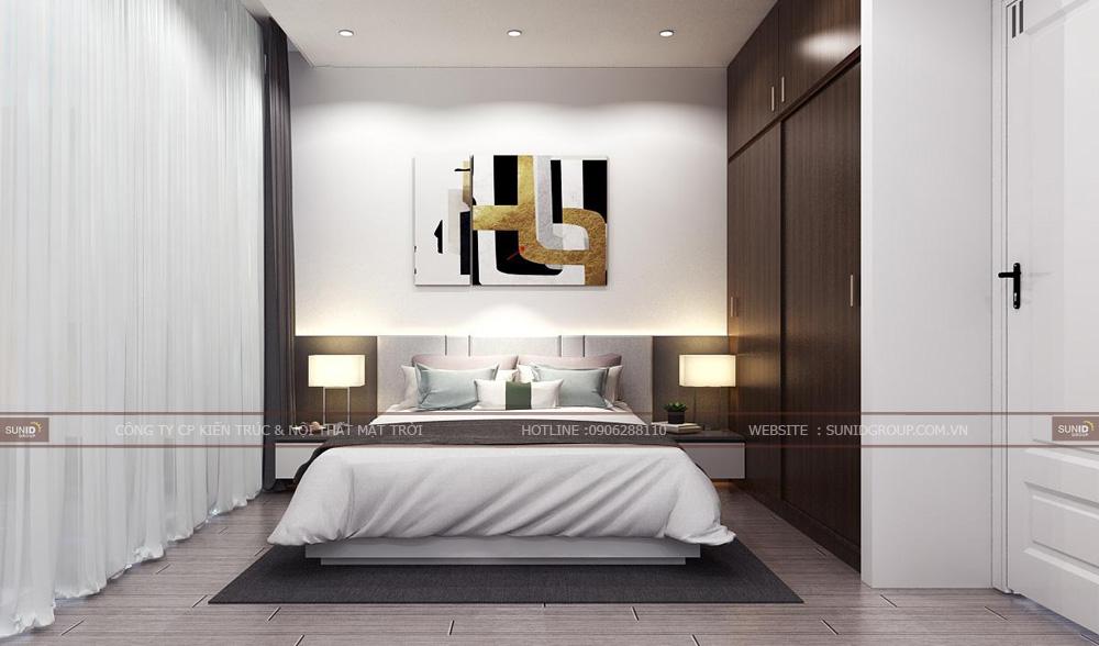 Thiết kế nội thất phòng ngủ phụ 1 chung cư Lark 6 Vinhomes Central Park