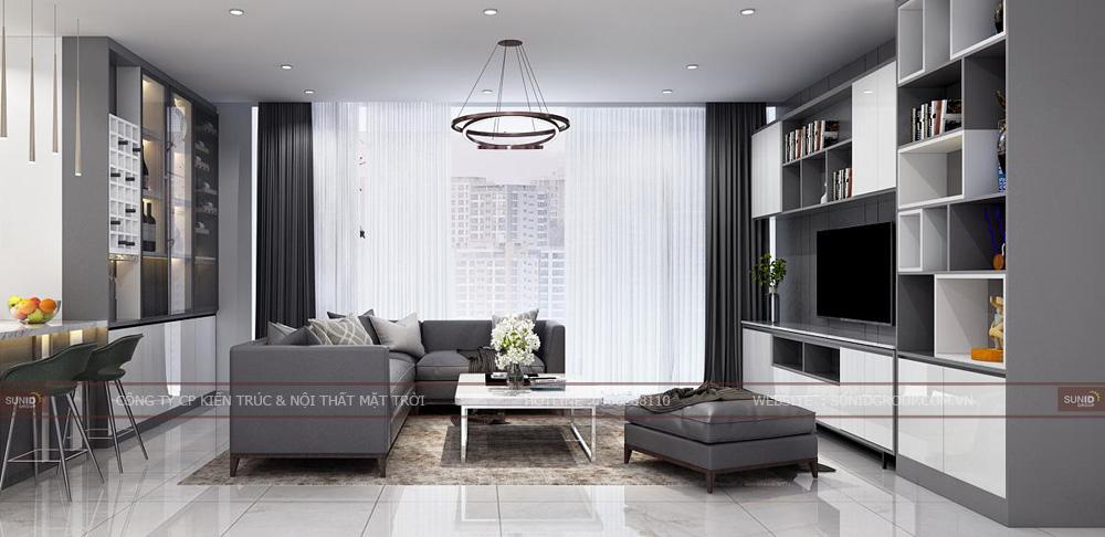 Không gian phòng khách căn hộ chung cư Lark 6 Vinhomes Central Park
