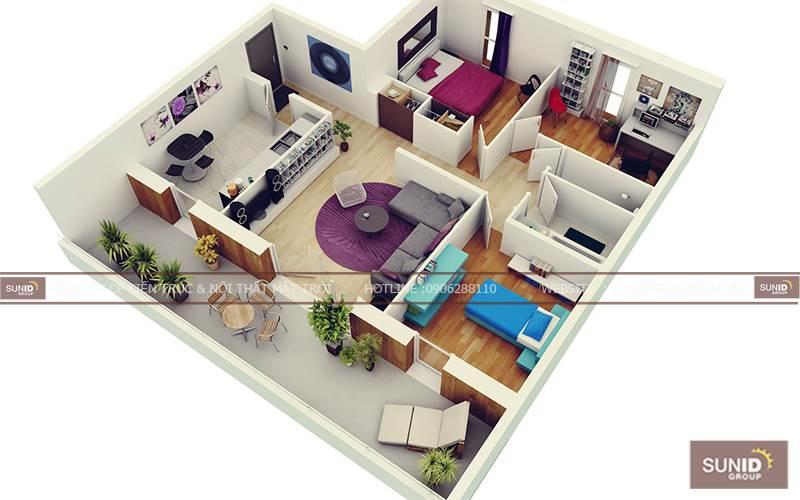 Các mẫu thiết kế nôi thất chung cư 3 phòng ngủ