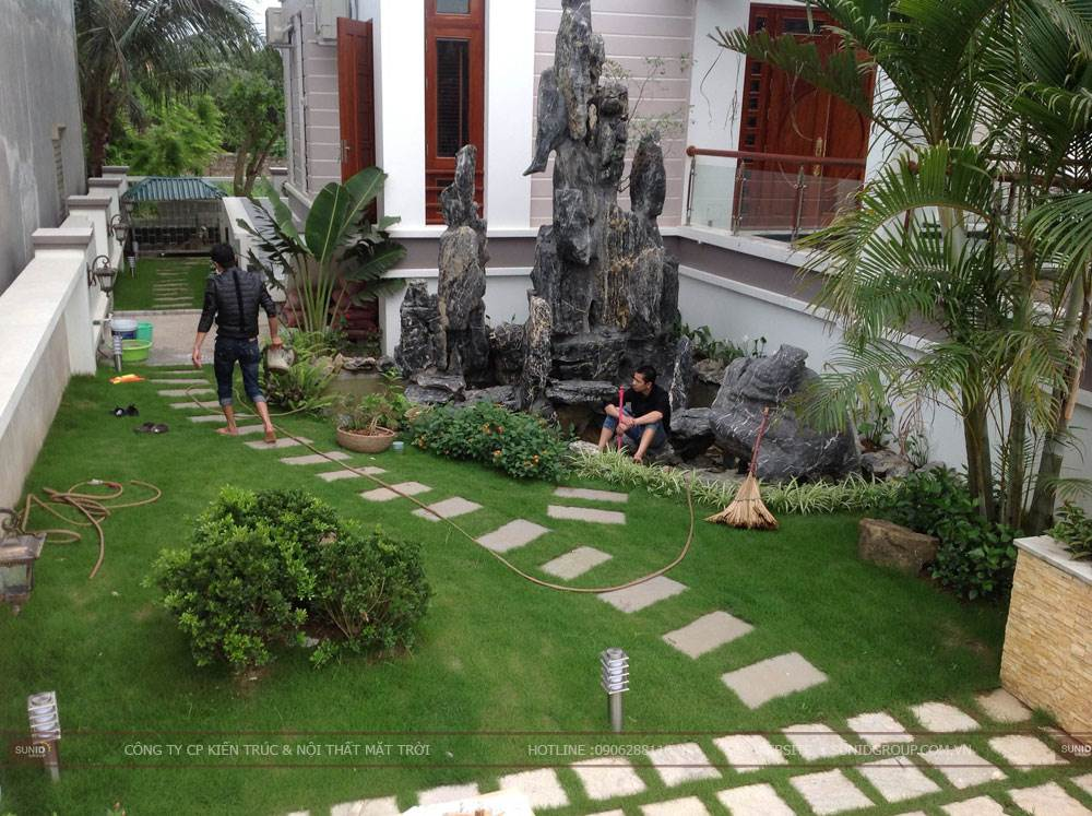 Thiết kế tiểu cảnh sân vườn hợp phong thủy tại Hà Nội