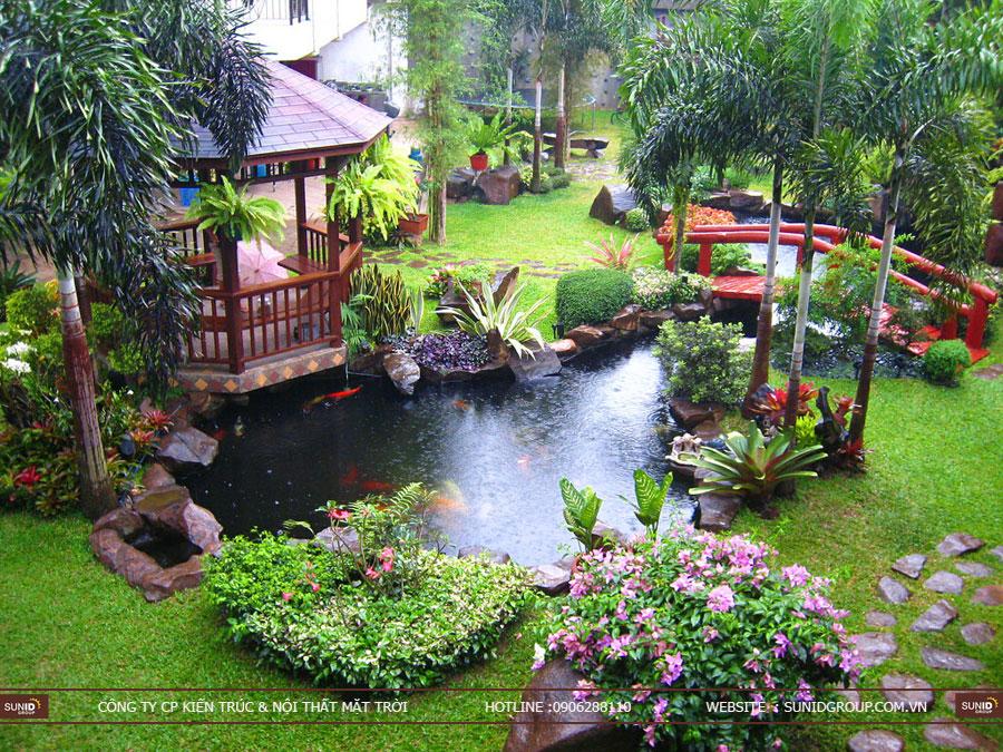 Ý tưởng thiết kế tiểu cảnh sân vườn với một chiếc cầu