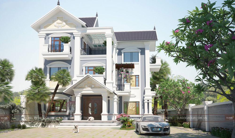 Thiết kế biệt thự 3 tầng mái thái – Chị Hà