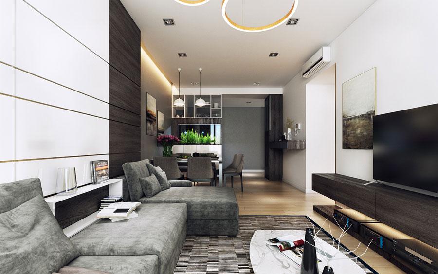 Thiết kế nội thất chung cư 50 m2 hai phòng ngủ