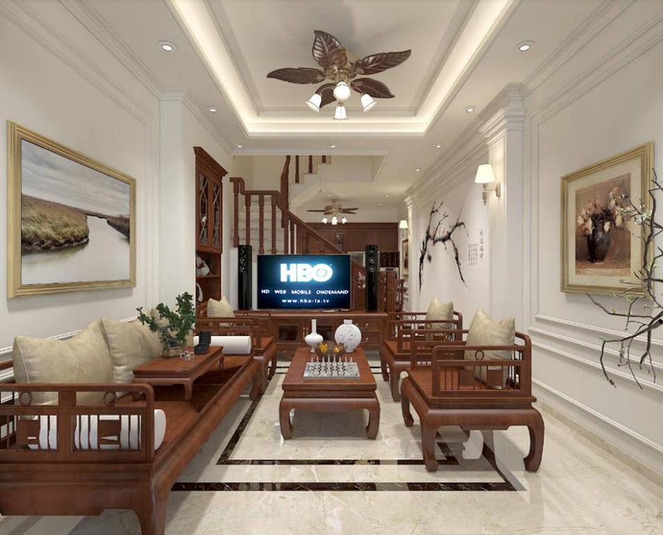 Thiết kế nhà phố 3 tầng nội thất gỗ cực kỳ sang trọng